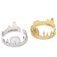 london ring, london skyline ring, city ring, uk jewelry, souvenir london, skyline ring, woman ring, unique ring, adjustable ring, uk