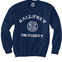 Gallifrey University Doctor Who Gildan Crewneck Sweatshirt S to 2XL