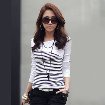 Women Casual Cotton Long Sleeve Striped T shirt