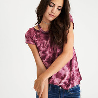 AEO Soft & Sexy Shoulder-Cutout T-Shirt, Burgundy