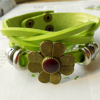 Graduation Gift Bronze Flower Charm Metal Ring Cute Light Green Soft woven Leather Metal Buckle Bracelet Fashion bangle Leather Cuff  C-43