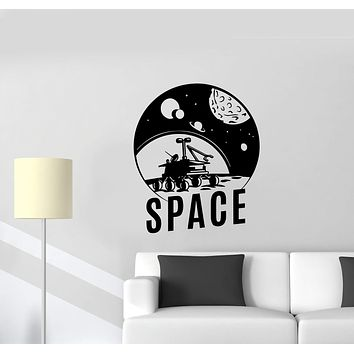 Wall Decal Space Moon Planets Solar System Spacecraft Stars Vinyl Sticker (ed902)