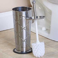 Toilet Brush Holder Stainless Steel Canister Enclosed Storage Decor Bathroom NEW