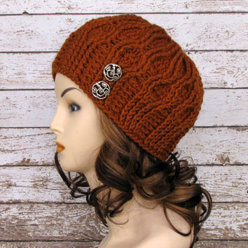 Women's Rust Winter Hat, Burnt Orange Ladies Cloche Hat, Crocheted Cloche
