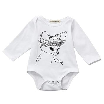 Fashion Newborn Infant Baby Boy Girl Toddler Deer Print Bodysuit Jumpsuit Outfits Clothes Long Sleeve Boys Girls Bodysuits +
