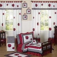 Red and White Polka Dot Ladybug Girl Toddler Bedding 5 Piece Set