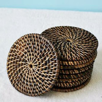 Set of 4 Round Rattan Coasters