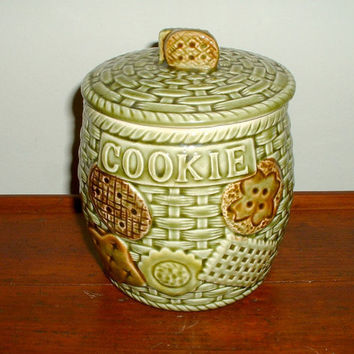Vintage Cookie Jar Norleans Japan Biscuit Holder Kitchen Storage Green