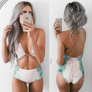 Printed Strappy Cutout Back Swimsuit