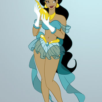 Sailor Disney Princess Jasmine Art Print by Nautilus Gifticus