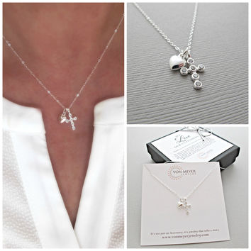 Dainty Silver Cross Necklace, Tiny Cross Necklace, layered necklace, Dainty silver cross necklace, layering necklace