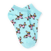 Multicolored Donkey Print Ankle Socks