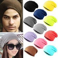 2017 fashion fall spring Men Women Beanie Solid Color Hip-hop Slouch hats skullies,chapeu feminino,gorras sombrero mujer,turban