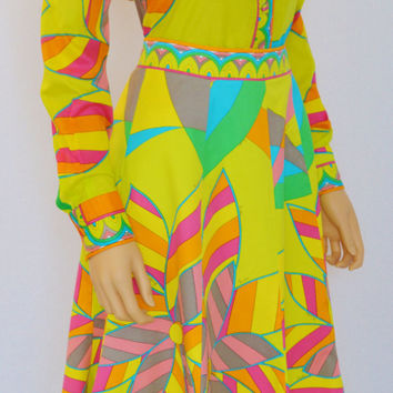 Vintage 1960's 70's EMILIO PUCCI Op Art PsYcHeDeLiC MoD Outfit Skirt & Blouse Dress 12 M