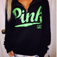 Zipper love pink letters printed sweater Black