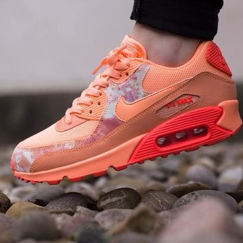 Best Online Sale Nike Air Max WMNS 90 Print Sunset Glow Hot Lava  Running Shoes Sport Shoes 724980-800