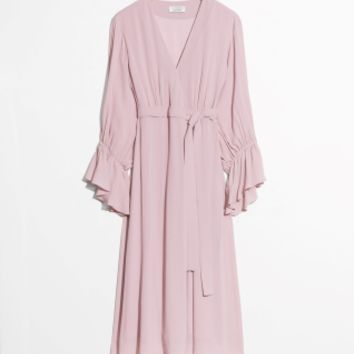 & Other Stories | Balloon Sleeve Wrap Dress | Pink