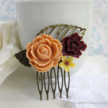 Flower Collage Hair Comb. Autumn Fall Shabby Chic Country Cottage Nature. Cocoa Brown, Yellow, Almond Brown. Bridal Wedding Hair Accessory