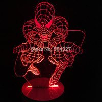 Free Shipping 1Piece 3D Bulbing Light Glowing Optical Illusion Versatile LED Lamp Spider Man Table Lamp
