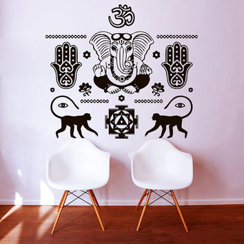 Wall Decals Indian Pattern Yoga Oum Om Fatima Hand Hamsa Elephant Decal Vinyl Sticker Decor Home Interior Design Bedroom Studio Art  MN424