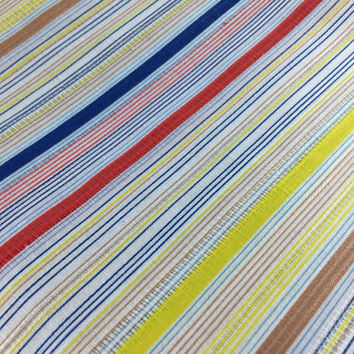 Vintage Retro Fabric Scrap By The Yard Blue Red Yellow Stripe