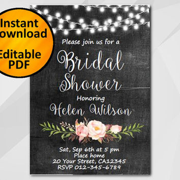 Editable Bridal Shower Invitation, Chalkboard Invitation, Instant Download diy wedding, etsy Bridal Shower invitation XB003c4