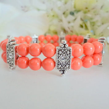 Coral Cuff Bracelet,Coral Jewlery,Coral Bridesmaid Bracelet,Mother of Bride/Groom,Coral Wedding,Coral Bridal Jewelry,Coral Bracelet,Formal