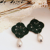 forest green earrings, green and silver, handmade lace, crochet, victorian