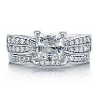 BERRICLE Sterling Silver Princess Cut Cubic Zirconia CZ Solitaire Womens Engagement Wedding Ring Set