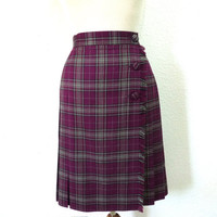 Vintage 70s skirt Plaid pleated Wrap Wool knee skirt Burgundy grey by David Brooks Size 8 Small