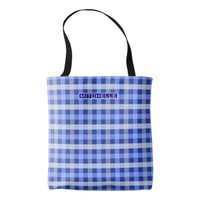 Personalized Blue Plaid Tote Bag