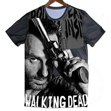 SOSHIRL Summer T Shirt Men Cool The Walking Dead Printed Top Tees Camisetas Fitness Short Sleeve T-Shirt Tee TV Program Shirts