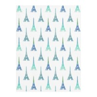 Paris Eiffel Tower Blue Green Fleece Blanket
