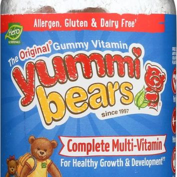 YUMMI BEARS: Complete Multi-Vitamin All Natural Fruit Flavors & Colors, 200 Gummy Bears