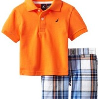 Nautica Baby Boys' 2 Piece Solid Polo Short Set, Neon Fish, 12 Months