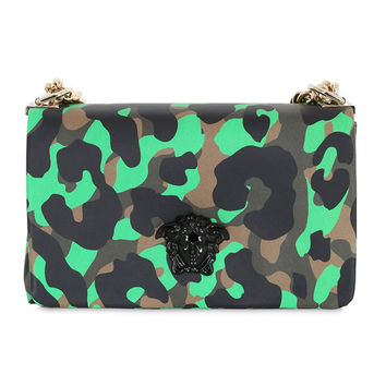 Brown and Green Camo Leather Shoulder Bag by Versace