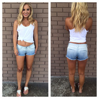 Dip Dye Ombré Light-wash Denim Shorts