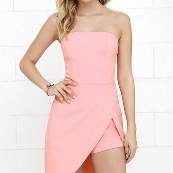 Pink Strapless Layered Asymmetrical Romper