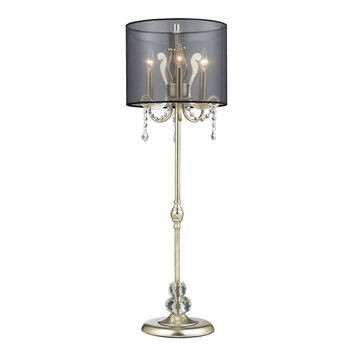 Andover Tall Buffet Lamp in Silver Leaf with Black Organza Shade