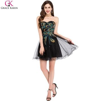 Peacock Bridesmaid Dresses Grace Karin Black White Maid of Honor Dress Short 2017 Feather Tulle Prom Dress Wedding Party Gowns