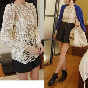 2014 New Women's Semi Sheer Sleeve Embroidery Top Tshirt Sexy Lace Floral Crochet Shirt For Lady 4Color Freeshipping