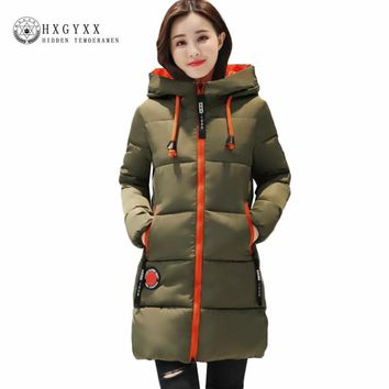 Warm Winter Jacket Women 2017 New Hooded Quilted Coat Solid Long Down Cotton Military Parka Plus Size 3XL Slim Zipper Outwear O3