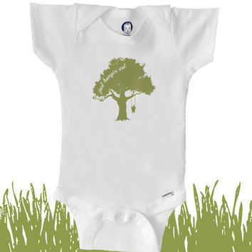 Organic baby clothes tree swing bodysuit by BoogalooBubbywear