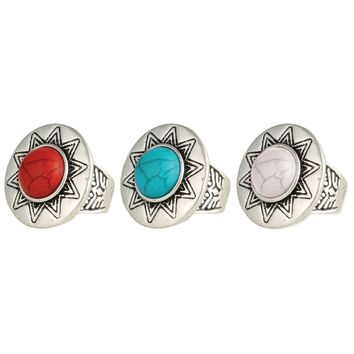 Silver Sun Round Stone Etched Band Ring
