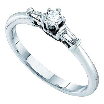 14kt White Gold Women's Round Diamond Solitaire Bridal Wedding Engagement Ring 1/5 Cttw - FREE Shipping (USA/CAN)