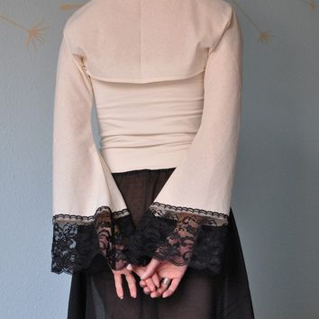 Ivory Cotton Shrug or Bolero with Vintage by TheButterfliesShop
