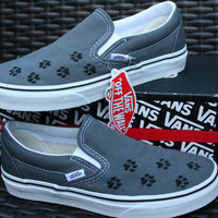 Custom Embroidered Paw Print Vans Shoes