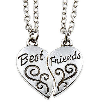 Friendship Chocker Necklace Broken Heart Pendant Necklaces for Best Friends Mixed Designs -Christmas gifts