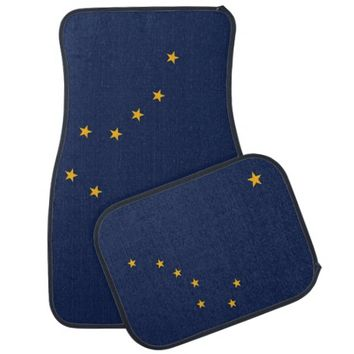 Patriotic set of car mats with Flag of Alaska