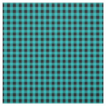 Turquoise Black Gingham Check Pattern Fabric